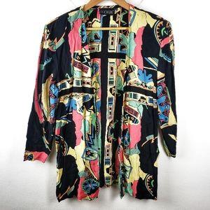 Vintage Phoebe | Multicolor Boho Open Cardigan